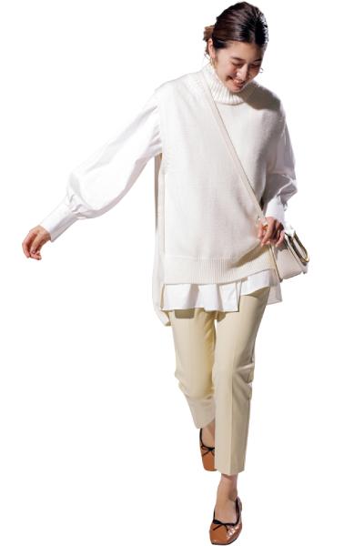 袖コンシャツはニュアンスカラーのワントーンで洒落感アップ