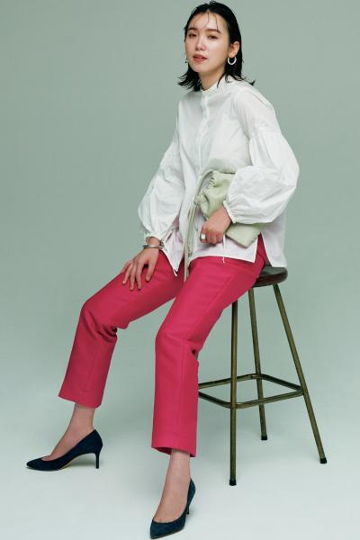 【10/16のコーデ】きれいめコーデの鮮度を高めるバンドカラーシャツの威力