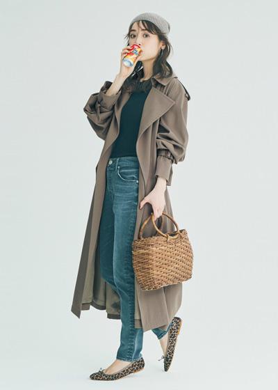 【10/12のコーデ】ニット帽&カゴバッグでカジュアルダウンな休日スタイル