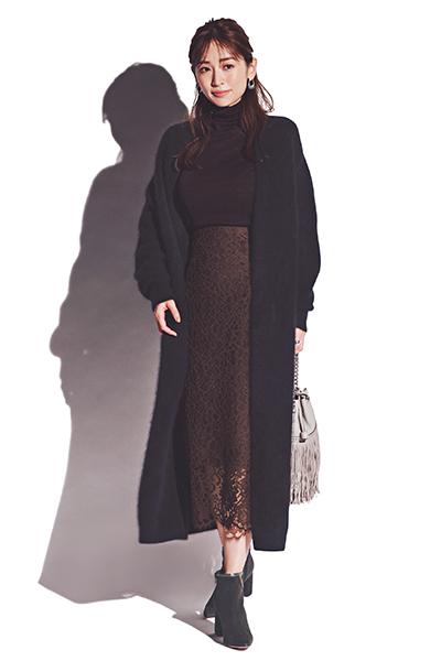 【12/21のコーデ】好印象配色で仕上げるレーススカートのフェミニンコーデ