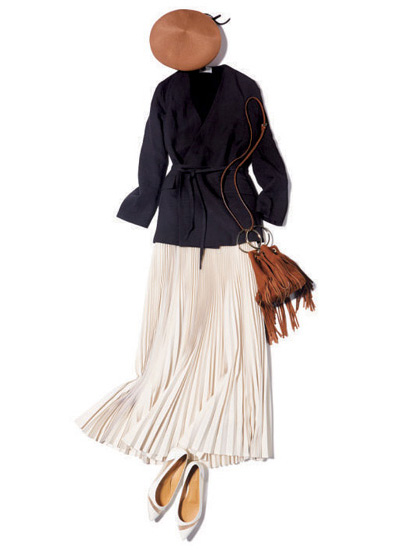 【2/11のコーデ】女子会へは、ベレー帽&プリーツスカートでOFFモード全開♡