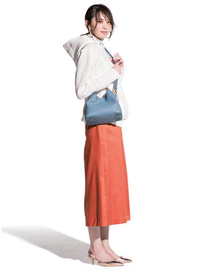 【3/20のコーデ】オレンジ&ブルーの配色で、週中もハッピーな気分♡