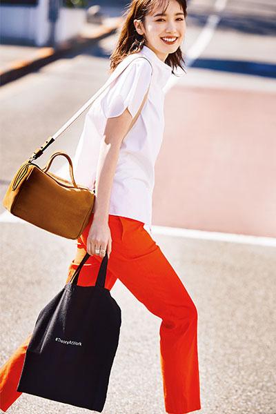 クリーンな白シャツ×きれい色パンツで春を感じて【4/17のコーデ】