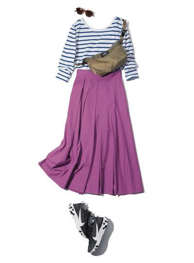 【6/23のコーデ】たくさん歩く日のカジュアルコーデには、フレアスカートで女らしさを♡