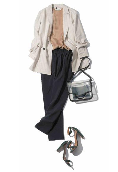 【6/26のコーデ】シルク&リネン混素材のジャケットで1日の寒暖差を乗り切って