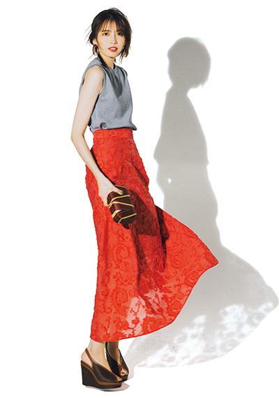 【7/17のコーデ】ミニマムなトップスでボリュームスカートを華やかに着こなして