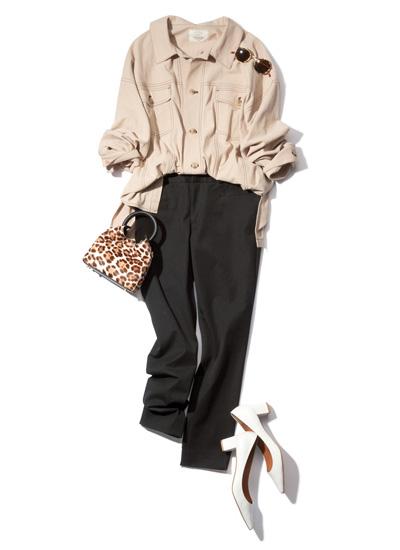【8/13のコーデ】打ち合わせの日は襟付きブルゾン&黒パンツできれいめに