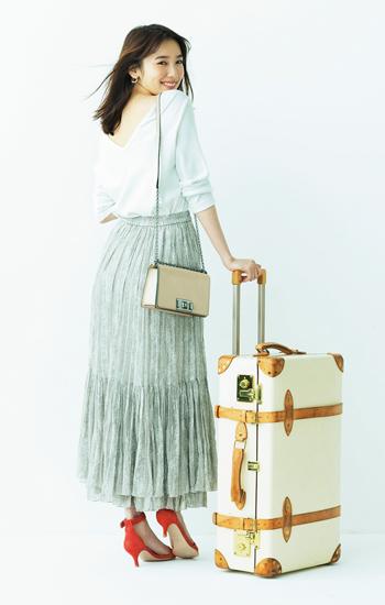 【8/14のコーデ】遠出するならシワになりにくい優秀スカートを♡