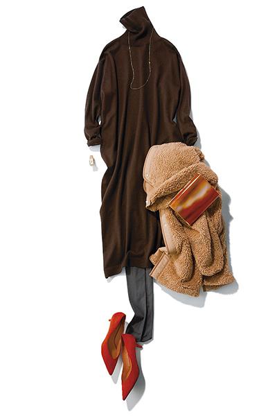【1/17のコーデ】合コンへ行く日は… 女性らしさとあたたかさを両立したブラウンコーデ