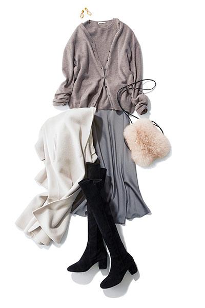 【1/24のコーデ】華金デートは淡いカラー配色で上品な装いに♡