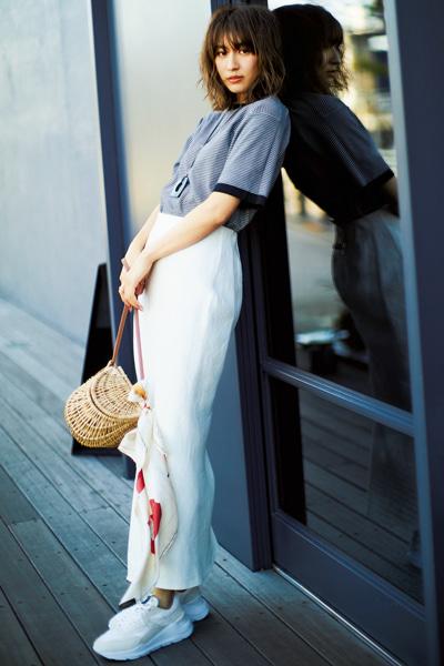 【5/24のコーデ】きれいめボーダーやかごバッグでパリっぽく♡