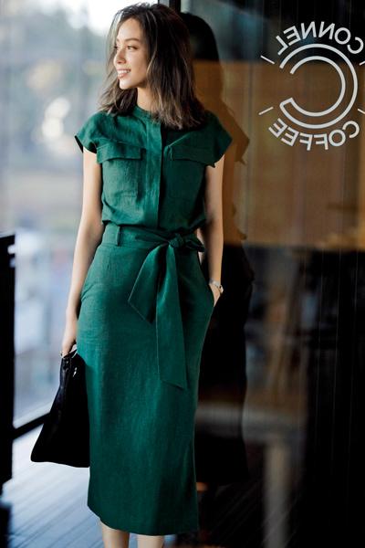 【6/2のコーデ】鮮度の高いグリーンカラー&リネン素材でこなれ感を
