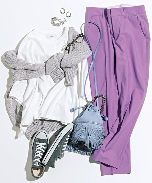 【7/1のコーデ】カラーパンツでつくるいきいきとしたカジュアルスタイル