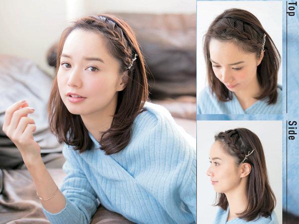 サイドバーン編み込みでつくる、顔周りすっきりな前髪なしヘアアレンジ