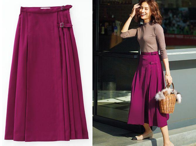 【1】赤紫スカート×ニット