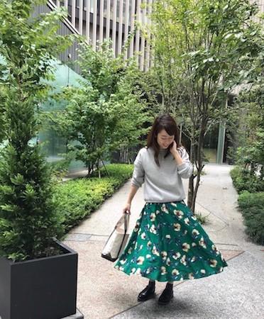 グレートレーナー×緑花柄スカート